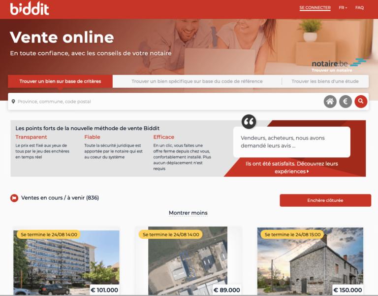 site d'annonces notariales aux enchères Biddit