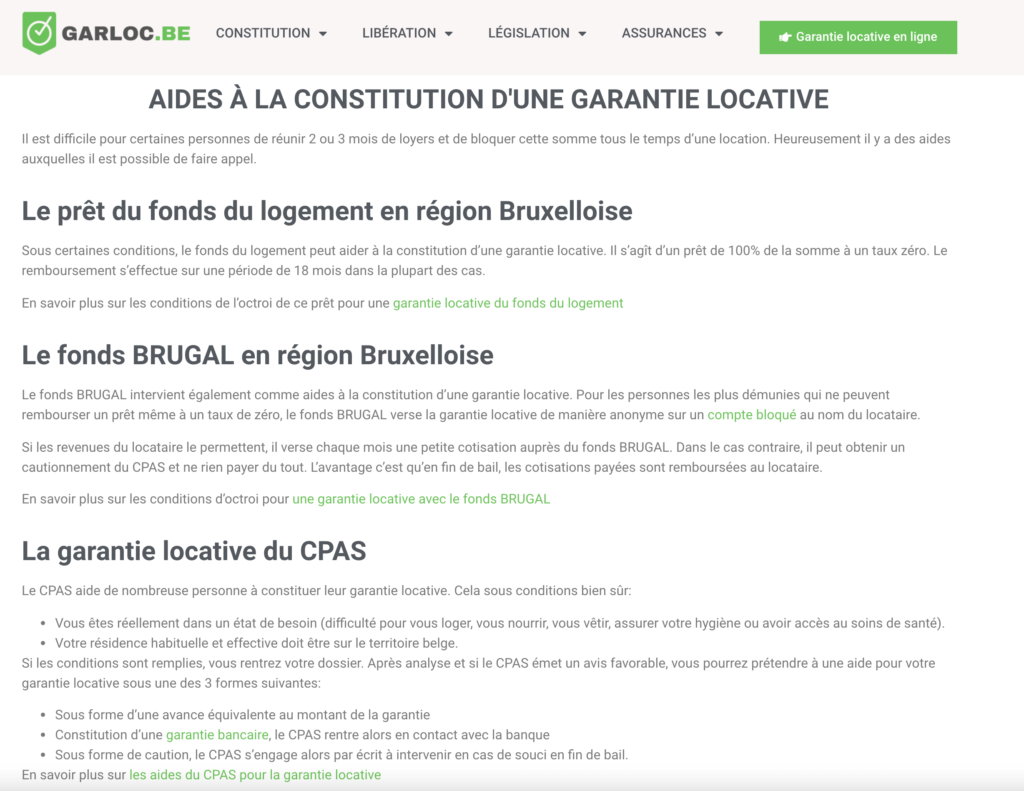 extrait pris sur le site GARLOC - aide pour la constitution d'une garantie locative d'un logement à Bruxelles